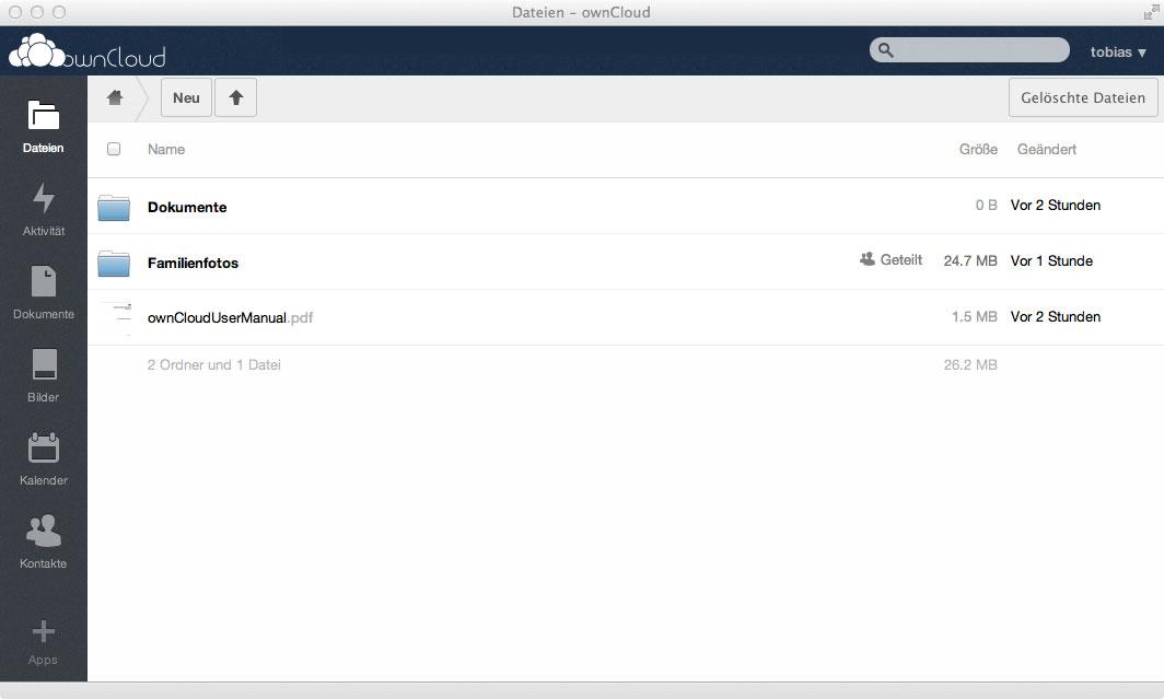 Das Web Interface der ownCloud macht einen sehr aufgeräumten Eindruck.